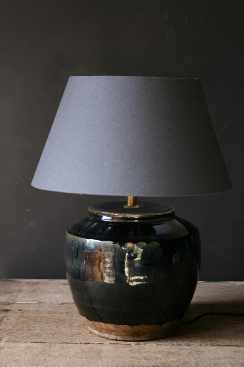Superb A Black Ceramic Table Lamp And Grey Shade