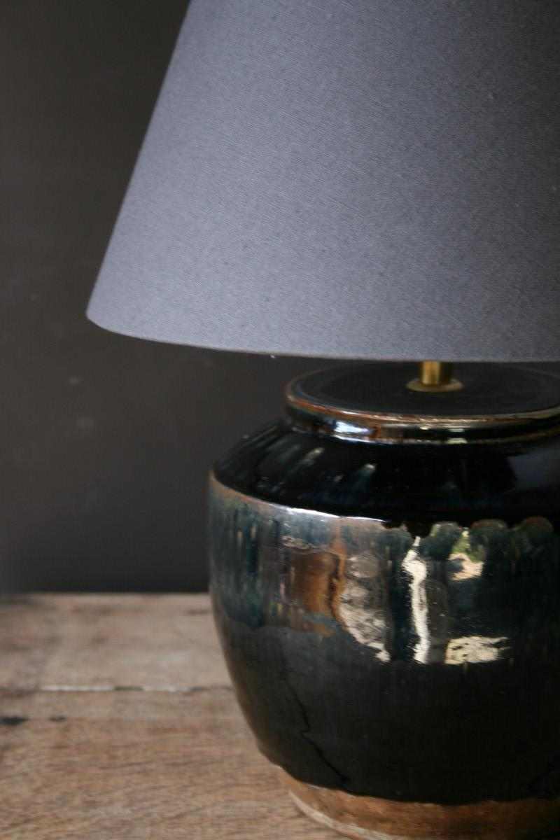 Beautiful A Black Ceramic Table Lamp And Grey Shade   LIGHTING   Antiques   Authentic  And So