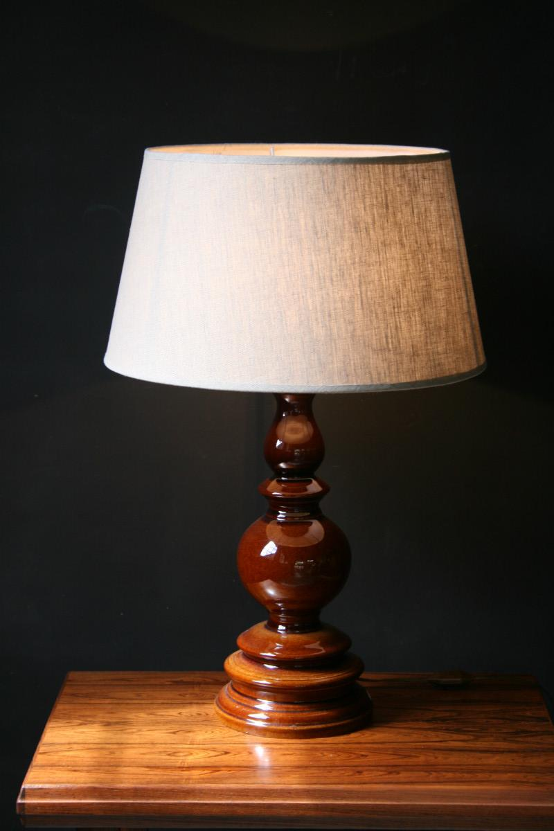 A Brown Base Ceramic Table Lamp Lighting Antiques Authentic