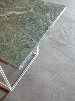 A composed low side table, on a Max Sauze base with green marble