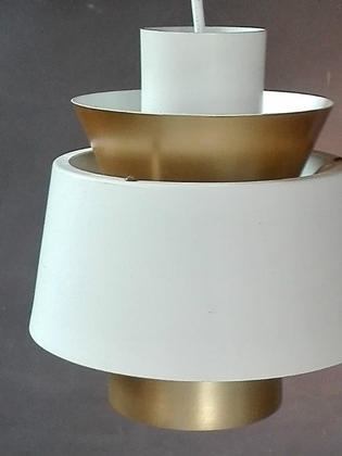 A Jorn Utzon pendant white and gold pendant light
