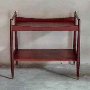 A nordic teak rectangular two level side table