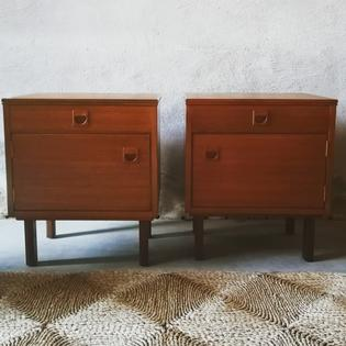 A pair of teak bedside tables by Alfred Cox Furniture