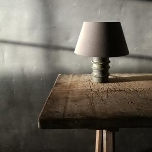 A small ceramic table lamp