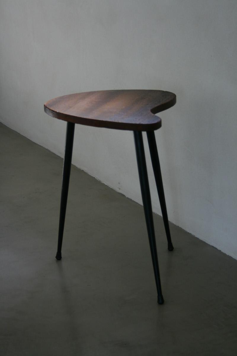 A Wooden Tripod Side Table On Metal Legs.   Antiques   Authentic And So