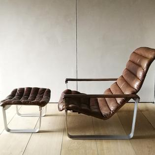 Lounge chair and ottoman by Ilmari Lappalainen