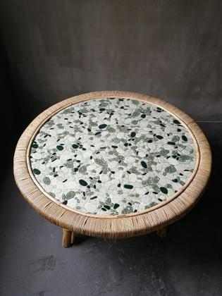 Mid-century green and white mosaic and bamboo table