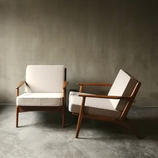Pair of lounge armchairs newly upholstered brothers Thonet,Vienna '60