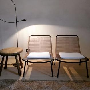 Pair of loungechairs scoubidou by André Monpoix, fifties
