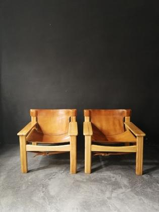 Pair of pine and leather Natura safari lounge chairs by Karin Mobring