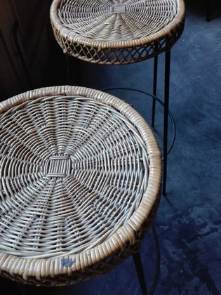 Pair of rotan and black metal barstools, French