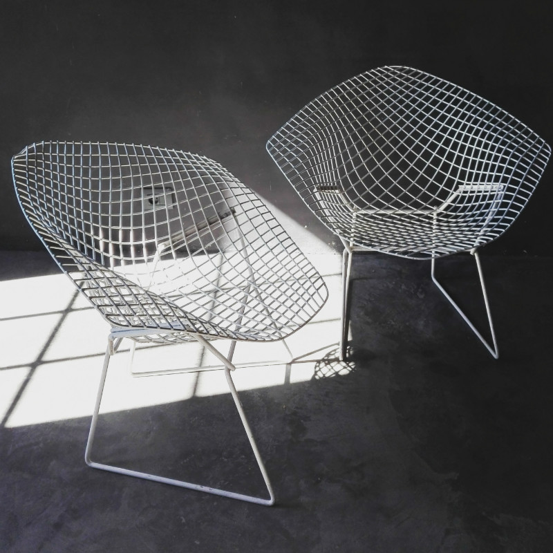 Pair Of White Bertoia Diamond Chairs. Category: Vintage