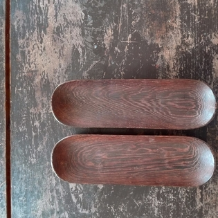 Pair of wooden trays