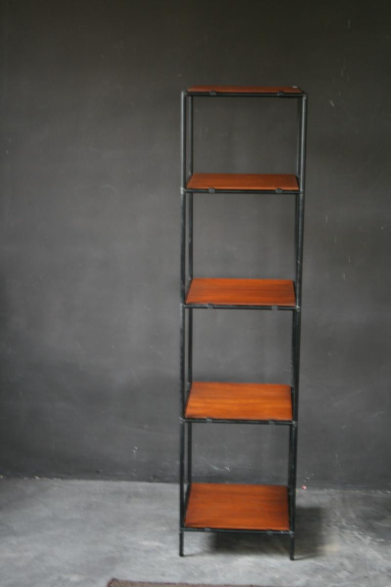 Poul cadovius black metal and wooden etag re furniture antiques authent - Etagere modulable metal ...