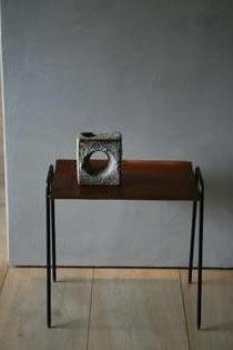 Small wooden and iron swedish side table