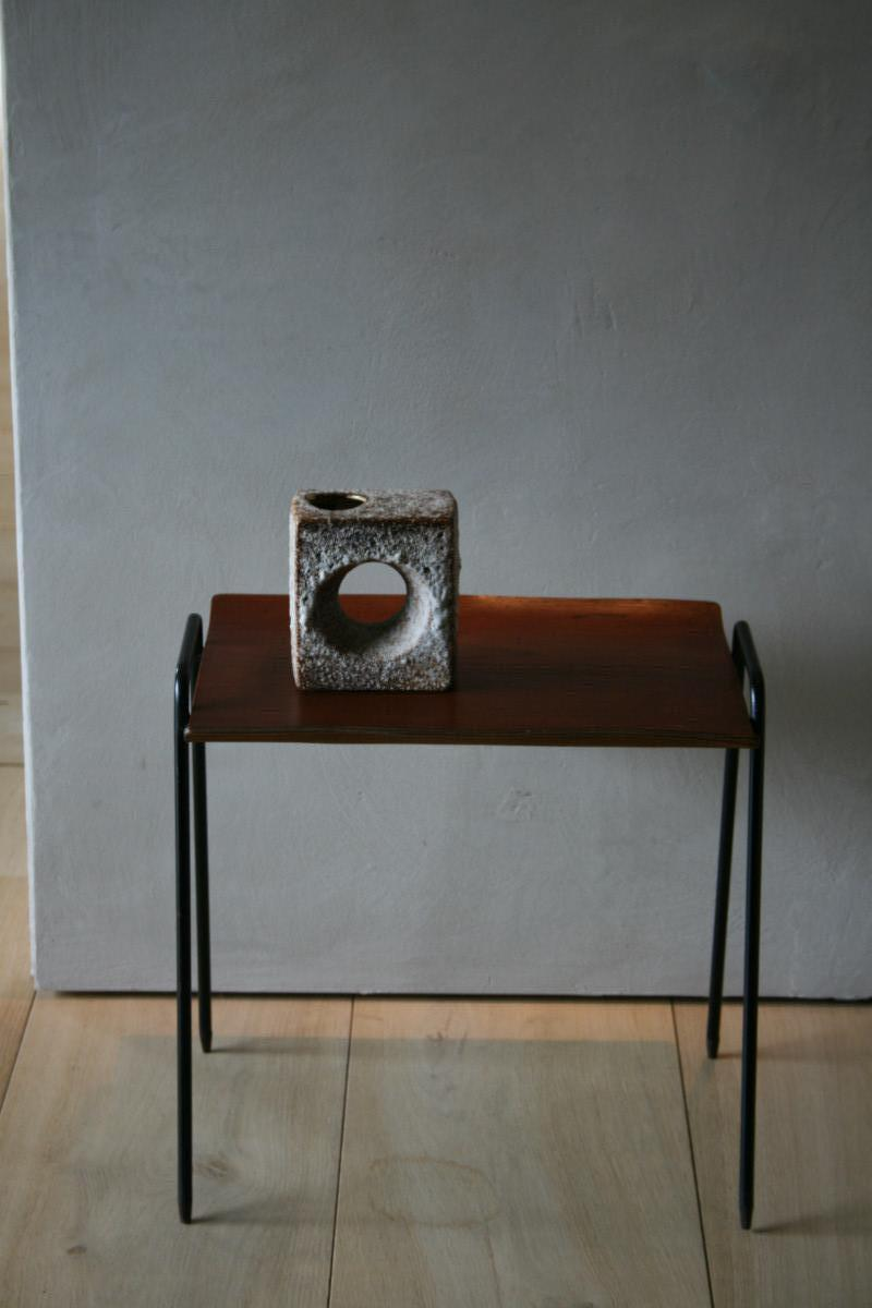 Small Wooden En Iron Swedish Side Table